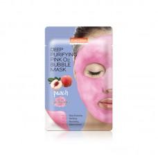 Пузырьковая маска с экстрактом персика Purederm Deep Purifying Pink O2 Bubble Mask Peach