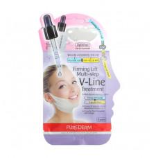 Лифтинг маска для подтяжки овала лица с сывороткой Purederm Firming Lift Multi-step V-Line Treatment
